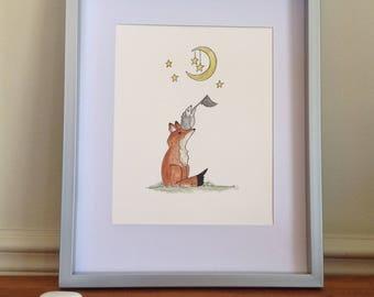 Aquarelle original d'un renard et hérisson/illustration de renard et hérisson/ chambre d'enfant renard et hérisson