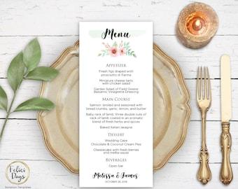 Floral Wedding Menu Template, DIY Wedding Menu Template, Printable Wedding Menus, Editable Menu Template, PDF Instant Download FL170