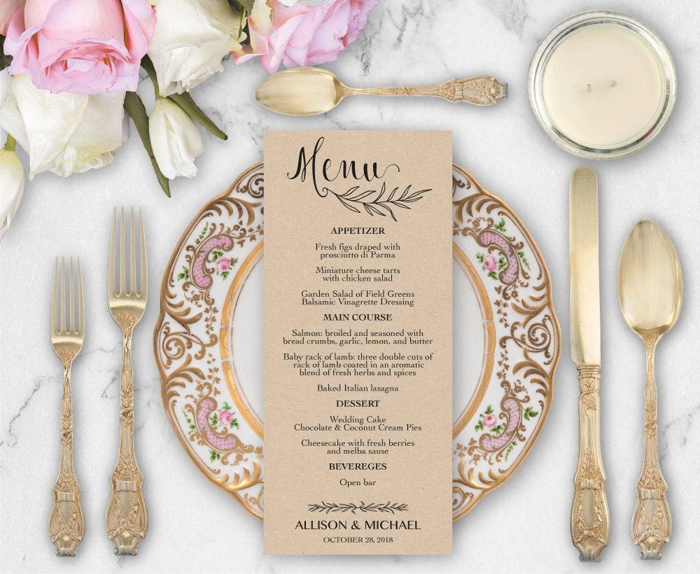 rustic wedding menu template diy wedding menu template