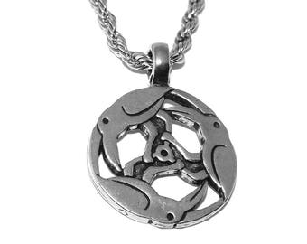 Trinity (Circle) of Ravens Pewter Pagan Pendant Necklace with Chain