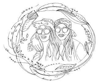 Hand drawn Custom coloring page, Coloring page made form your photos