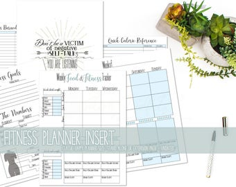 Food and Fitness Planner Expansion Pack or Stand Alone, Happy Planner Size, Undated, Bonus included