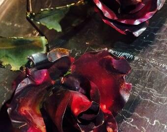 Decorative long stem metal roses, hand made
