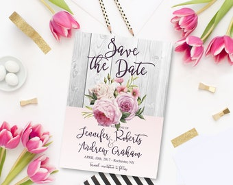 Printable Rustic Bohemian Save the Date Floral Wedding Romantic Roses Pink Watercolor flowers Save the Date Invite WS-005