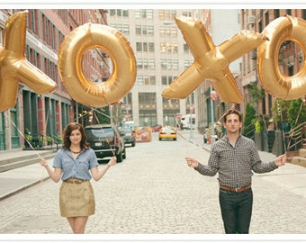 "Large XOXO balloons 16"" or 40"" in Gold or Silver Mylar Balloons"