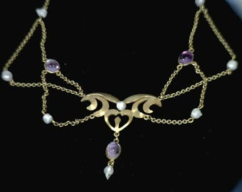 Vintage hand made Amethyst necklace