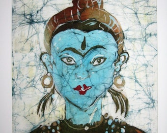 Blue orient - Print from an original batik 30 cm x 40 cm