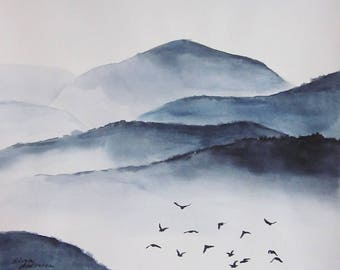 19x27inch ORIGINAL watercolor painting, Mountains