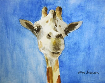 ORIGINAL watercolor painting Giraffe Baby Nursery Room Wall Art Wall Decoration Pet Animal Zoo
