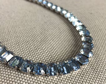 Glam Vintage Marked Eisenberg Baby Blue Rhinestone Choker Necklace Fabulous Bridal