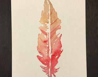 Postcard - Hand-painted Feather