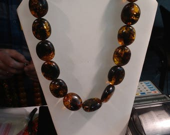 Natural green amber beaded necklace. One of a kind. Big vintage, antique, genuine Amber beads.