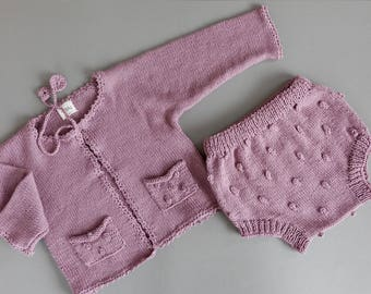 Baby Cardigan and Bloomers set in cotton/bamboo, Hand-Mom Knitted