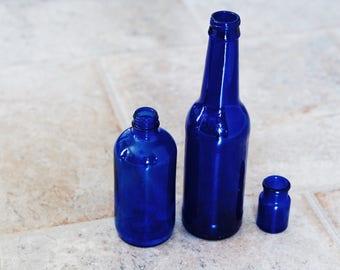 Vintage Cobalt Blue Medicine Bottles Set of 3 • Gorgeous BLUE Color!