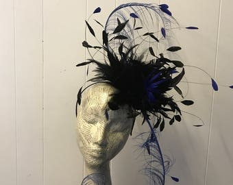 Black & cobalt blue fascinator  Lucienne