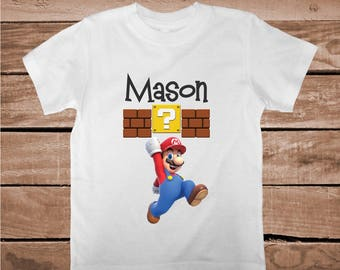 Super Mario Tee Tees T-shirt For Kids Video Game Mario T-Shirt Mario Bros Tees Personalized Tees Boys Nintendo Onesies and Shirts, aa30