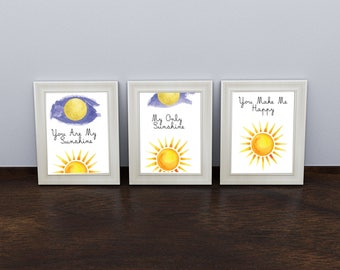 You are my Sunshine Poster, Nursery Posters, Children's Room Decor, Printable