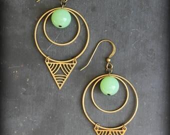 """Earrings """"Akeko"""" creoles green Japanese"""