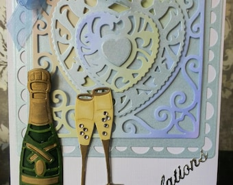 Engagement card -champagne and glasses