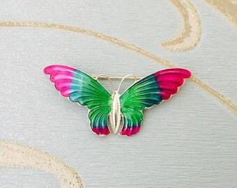 Vintage Silver Purple Green Turquoise Enamel Butterfly Brooch