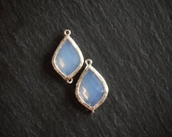 2 x White Opal Connectors, Faceted Glass Connector Pendant
