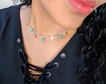 Cross and turquoise beads choker chain necklace. Dainty minimal . Gift for her.
