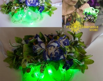 LED Green flowers Bracelet. Flower accessory. Bridal Floral bracelet.