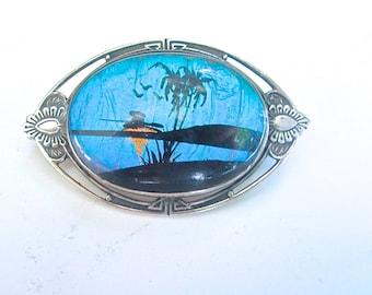 Vintage Hoffman Art Nouveau Sterling Butterfly Wing Brooch Pin