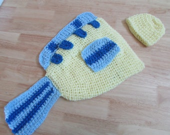 Crochet Baby Flounder Fish Photo Prop Little Mermaid Props Hat & Cocoon Newborn to 6 Months