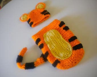 Crochet Baby Tigger Photo Prop Tiger Hat & Cocoon Set Winnie the Pooh Porp Sets Newborn to 6 Months