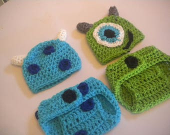 Crochet Baby Monsters Inc Mike & Sully Photo Prop Set Newborn to 12 Months