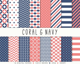 Navy Coral Digital Paper Commercial Use Nautical Digital Paper Sale Instant Download Navy Coral Printable Paper Navy Polka Dots Chevron