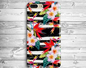 White Flowers iPhone 7 Plus Case iPhone 6s Plastic Case iPhone 7 6 White Black Striped Case iPhone SE Case Samsung Galaxy S6 S7 Edge Case