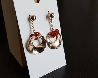 Rose gold plated 925 Silver earrings with natural crystals