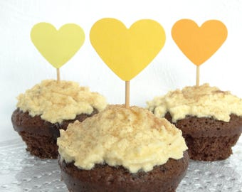 Yellow Cupcake Toppers - Yellow Wedding Decorations - Yellow Birthday Party - Easter Decorations - Muffin Toppers