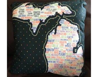 Michigan Cities Throw Pillow