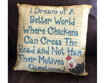 Chicken Crossing the Road Throw Pillow