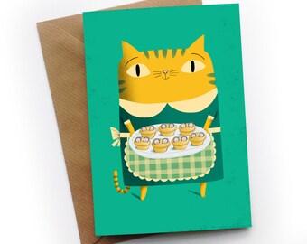 Cat Baking Pies Greeting Card by illustrator Simon Cooper