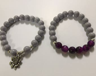 Purple and Silver Beaded Bracelet Stack