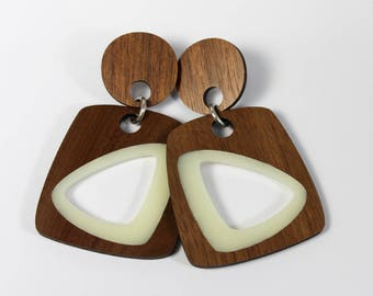 Walnut and Milky White Interior Earrings