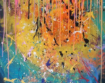 Infinite Possibilities, abstract art, abstract painting, neon art, splatter painting, dripping paint, large painting