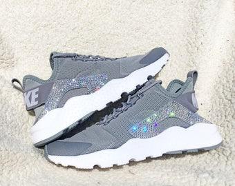 crystal Nike Air Huarache Run Ultra Bling Shoes with Swarovski Crystals Women's Running Shoes Gray