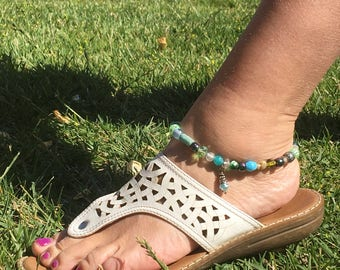 Multi-colored glass beaded anklet with charm