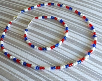 4th of JULY Red White & Blue 16 In Necklace/ 8 In Bracelet Combo