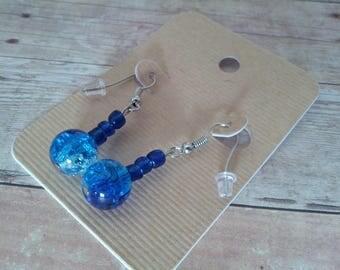 Ocean Blue Dangle Beaded Earrings