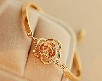 Citrine Rose Charm Bracelet