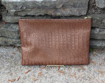 Faux Leather Metallic Gator Clutch