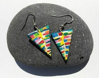 Triangular wooden earrings, feminine accessory, gift idea, tasty summer pendants, handmade earrings, gift ideas for her
