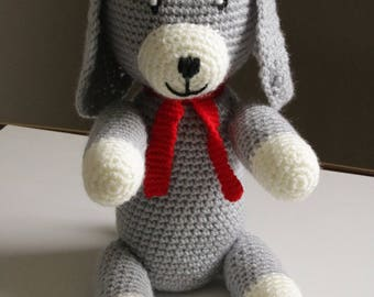 beautiful dog knitted in wool / hand made decor child's room