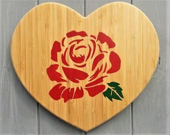 Wooden Heart - Rose - Red - Nursery Wall Art - Baby Shower Kids Gift - Wood Wall Art Decor